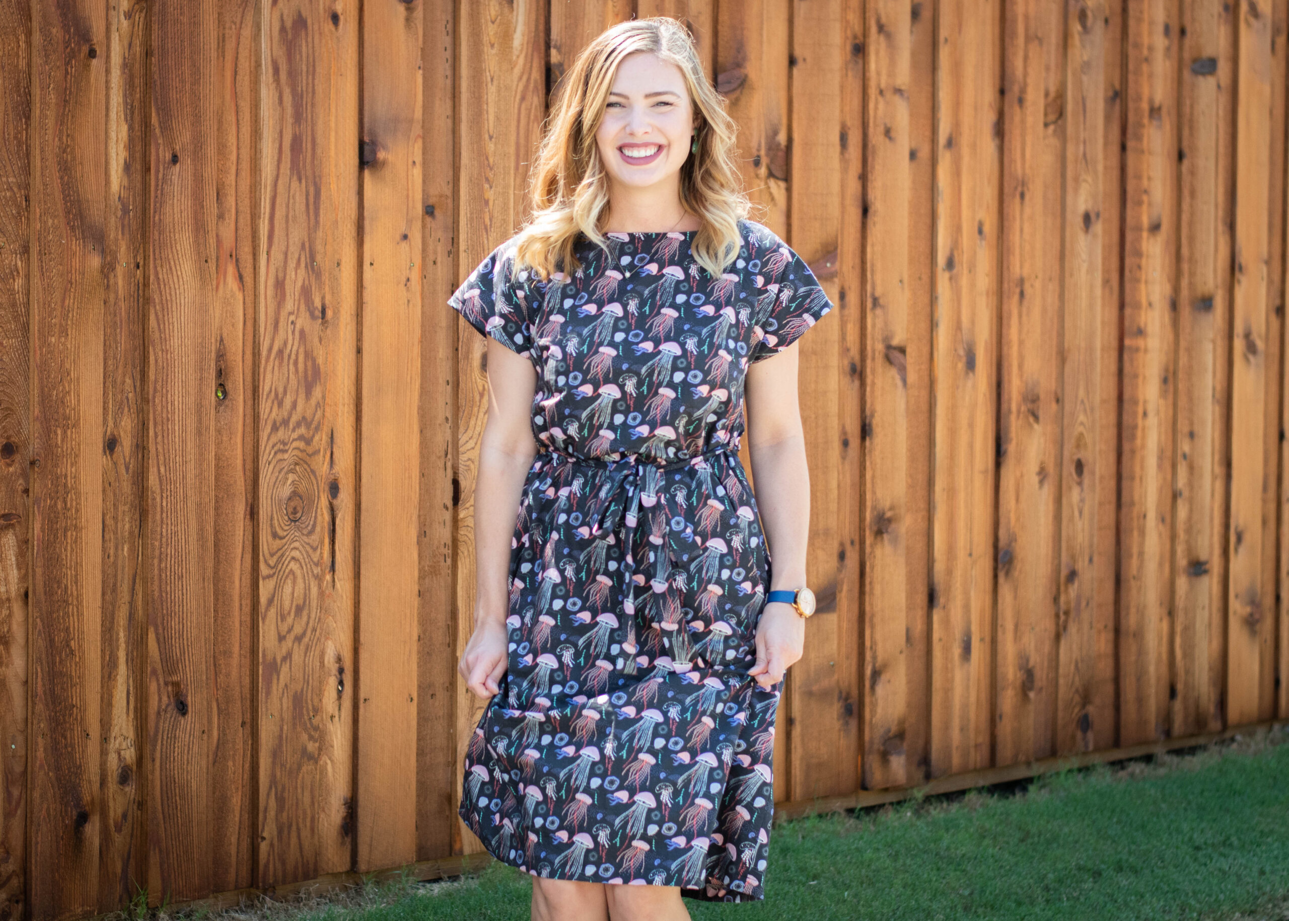 sewing the Meg Dress in a novelty Jellyfish print